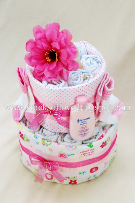 2 Tier Girl Diaper Cake