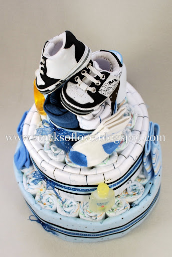 Diaper Cake for boy with Tennis shoes