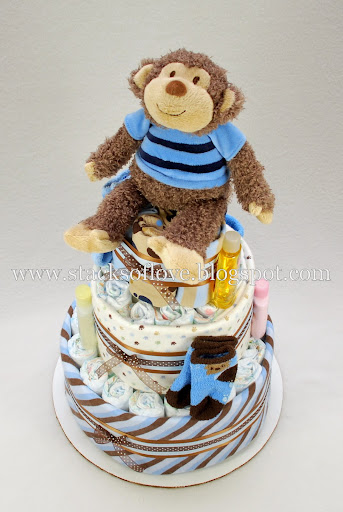 Diaper Cake blue, brown with plush monkey