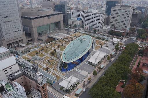 名古屋テレビ塔の展望台からオアシス21の写真