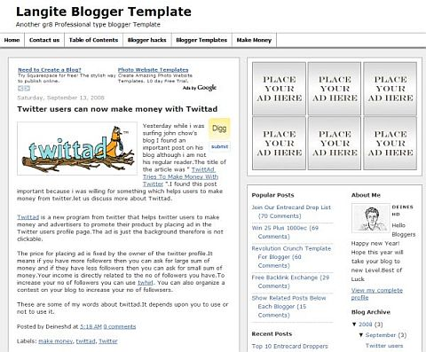 Шаблон Langite для Blogger