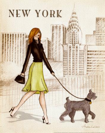 Девушка гуляет по Нью-Йорку
