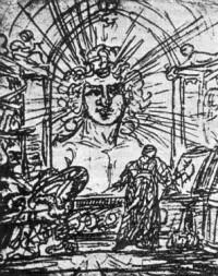 Появление духа земли. Рисунок Гете. Карандаш. Веймар. Архив Гете и Шиллера.