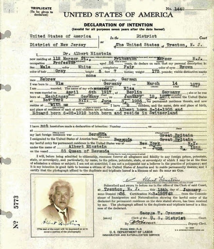 Декларация, заполненная Альбертом Эйнштейном при въезде в США15 января 1936
