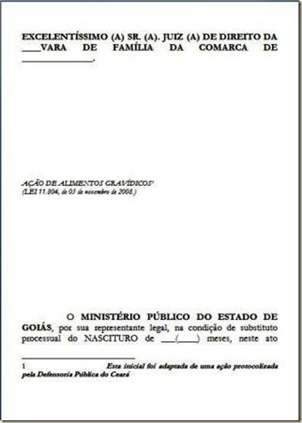Alimentos Gravídicos - Modelo de Petição Inicial.