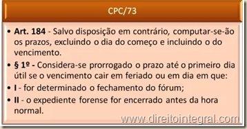 Código de Processo Civil - CPC - Art. 184 - Cômputo e Prorrogação dos Prazos.
