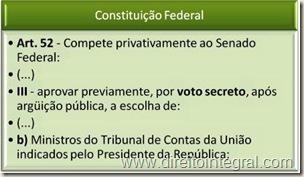 Constituição Federal - CF - Art. 52,III,b - Voto Secreto para a aprovação de Ministro do Tribunal de Contas.