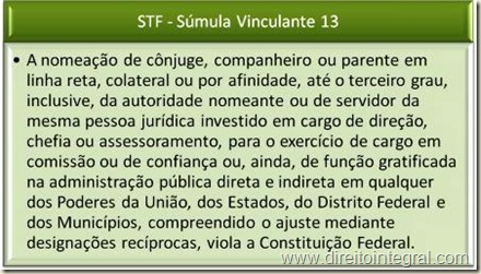 STF - Súmula Vinculante 13 - Nepotismo.
