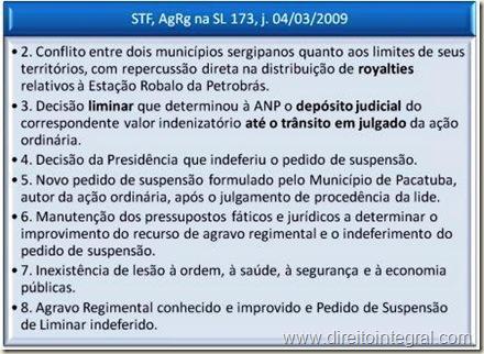 STF. Suspensão de Liminar. Decisão determinando o Depósito Judicial de Royalties.