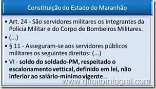 Constituição do Estado do Maranhão. Saláro de Policial não Inferior ao Salário Mínimo.
