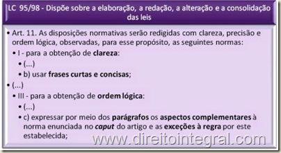 Lei Complementar 95/1998 - Art. 11. Clareza e Orgem Lógica na Redação de Normas Jurídicas.