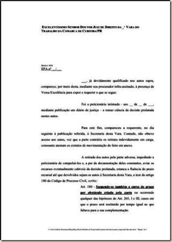 Modelo de Petição de Devolução de Prazo. Carga dos Autos Pela Parte contrária durante o Prazo para Recurso.