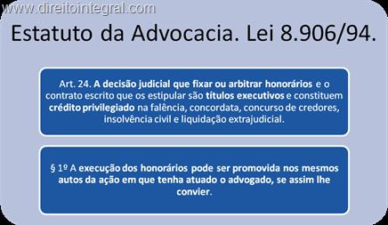 Estatuto da Advocacia. Lei 8.906/94. Artigo 24.