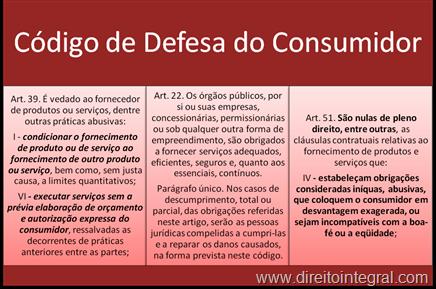Código de Defesa do Consumidor. Art. 39, I e VI; Art. 22 e § único; Art. 51, IV