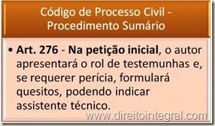 CPC - Código de Processo Civil. Art 276. Rol de Testemunhas e Quesitos na Petição Inicial.