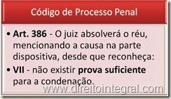 Código de Processo Penal - CPP - Art. 386, VII.