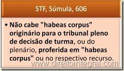 STF. Súmula 606. Habeas Corpus Contra Decisão de Turma ou do Plenário.