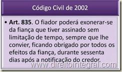 Código Civil. Art. 835 - Exoneração da Fiança.