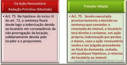 Art. 75 da Lei 8245/1991 e Veto à Lei 12112/2009