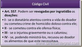 Código Civil. Revogação da Doação Por Ingratidão. Art. 557.