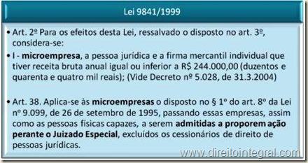 Estatudo das Microempresas - Lei 9841/99, art. 38 - Admissibilidade da Propositura de Ação perante o Juizado Especial.