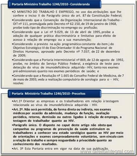 Portaria 1246/2010 do Ministério do Trabalho. Proibição da realização de exames de AIDS em empregados de empresas privadas.