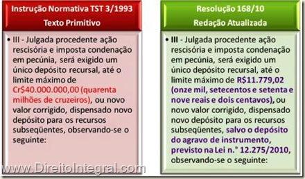 Depósito Recursal em Ação Rescisória na Justiça do Trabalho. Instrução Normativa 3/1993 e Resolução 168/2010 do TST. Quadro Comparativo.