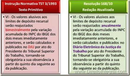 Reajuste do Depósito Recursal na Justiça do Trabalho. Resolução TST 168/10 e IN3/93. Quadro Comparativo.