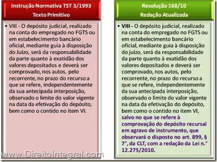 Prazo Para a Realização e a Comprovação do Depósito Recursal. Quadro Comparativo. IN 3/93 e Resolução 168/2010 do TST.