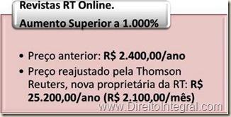 Preço Anterior da RT online: R$ 2400,00 por ano. Preço Atual: R$ 2100,00 por mês. Reajuste de 1.000%