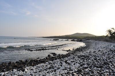 Coral and lava salt and pepper a beach at sunrise near Kona, Hawaii.