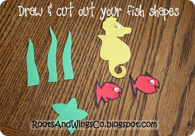 2 draw and cut out fish shapes