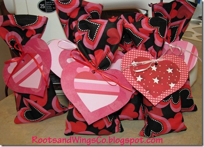 Fabric Valentines Day bags