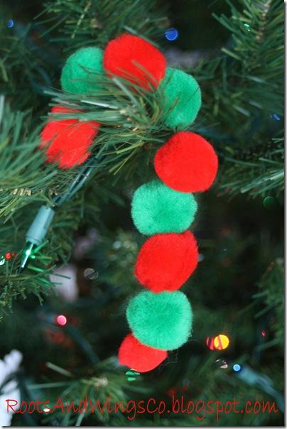 candy cane christmas pom pons