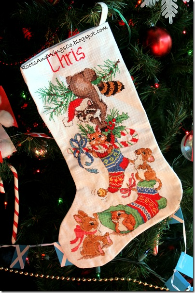 cross stitched christmas stocking b