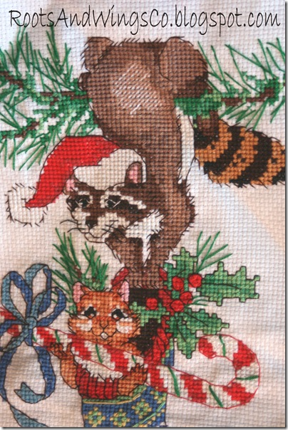 cross stitched christmas stocking a