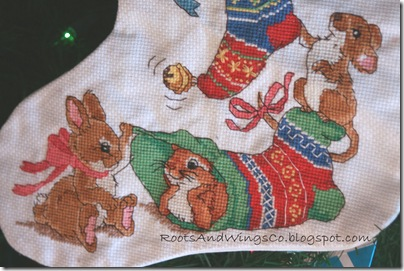 cross stitched christmas stocking