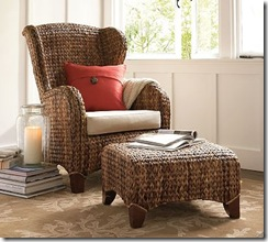 Seagrass Wingback armchair-Pottery Barn