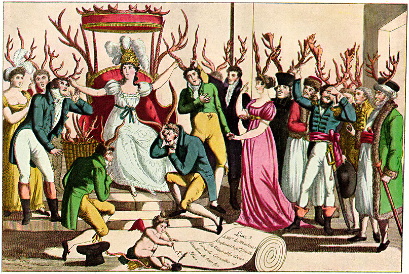 La fête de l'Ordre des Cocus devant le trône de Sa Majesté, Infidélité/The celebration of the Order of Cuckoldry before the throne of her majesty, Infidelity. French print, ca. 1815. <a href='http://commons.wikimedia.org/wiki/File:Order-cuckoldry-ca1815-French-satire.jpg'>CC from Wikimedia Commons</a>.
