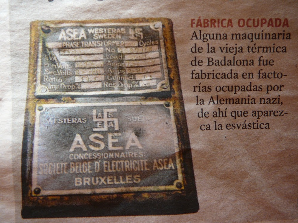 Label for a phase transformer produced pre-1934 by ASEA at its VästerÃ¥s/Westeras plant and acquired second-hand from a Belgian generating company.
