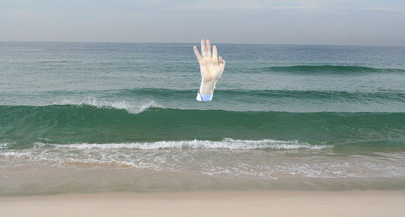 Atlantic waves, <a href='http://commons.wikimedia.org/wiki/File:Gentle_waves_come_in_at_a_sandy_beach.JPG'>CC by Johntex</a>. Hand of the prodigal son-shines-out-me-arse, legitimate satirical use from <a href='http://www.elpais.com/articulo/espana/apuntala/victoria/apelando/cambio/compromisos/concretos/elpepuesp/20101126elpepunac_35/Tes'>TEJEDERAS@El País</a>.