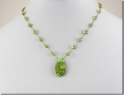 Margo Morrison New York Facested Peridot drop necklace