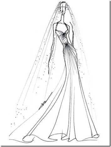 kate middleton wedding dress sketch. reem acra sketch for Kate