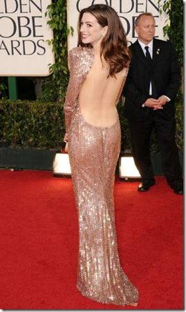 ANNE HATHAWAY BACK IN BLUSH GLITTER DRESS 2011 GOLDEN GLOBES