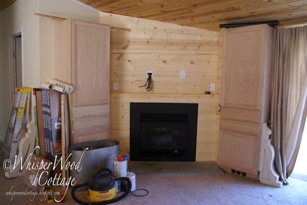 Whisperwood cottage fireplace makeover phase 3 for Tongue and groove fireplace