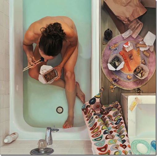 Self portrait in tub with chinese food (FILEminimizer)