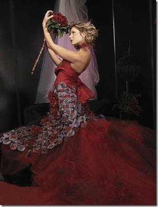 Vestidos de noiva de Cristina Lopes vestido vermelho para casamento estilistas criadores de moda noiva portugueses - casar em Portugal 2010 - 2011