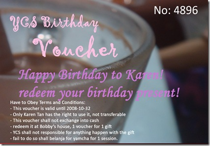 Karen birthday voucher