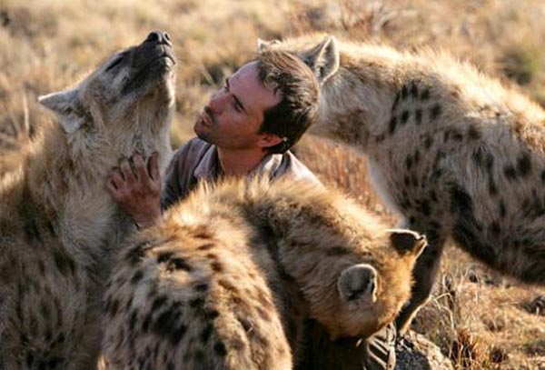 Ranger with hyenas