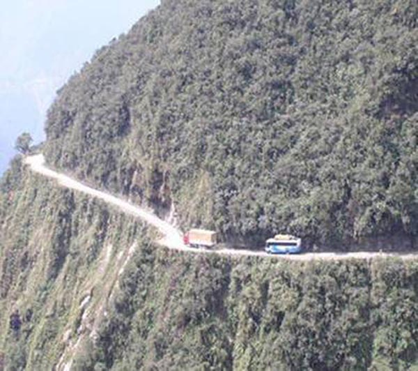 Bolivian Highway - Deadly Bolivian Highway - Bus and truck on the dangerous road